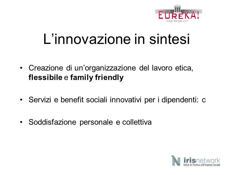Linnovazione in sintesi Creazione di unorganizzazione del lavoro etica, flessibile e family friendly Servizi e benefit sociali innovativi per i dipend