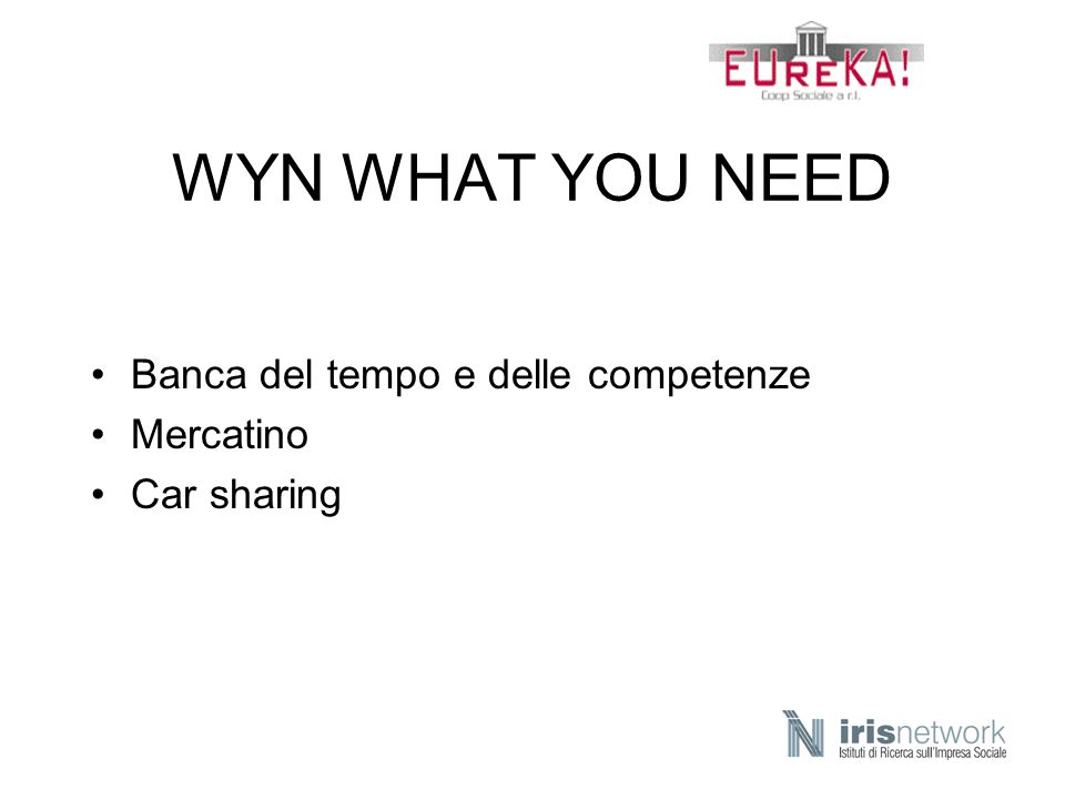 WYN WHAT YOU NEED Banca del tempo e delle competenze Mercatino Car sharing