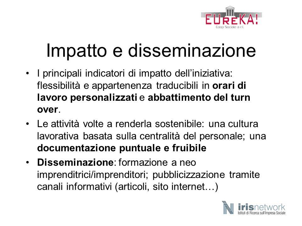 Impatto e disseminazione I principali indicatori di impatto delliniziativa: flessibilità e appartenenza traducibili in orari di lavoro personalizzati