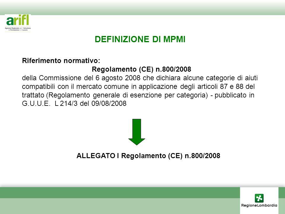 DEFINIZIONE DI MPMI Riferimento normativo: Regolamento (CE) n.800/2008 della Commissione del 6 agosto 2008 che dichiara alcune categorie di aiuti comp