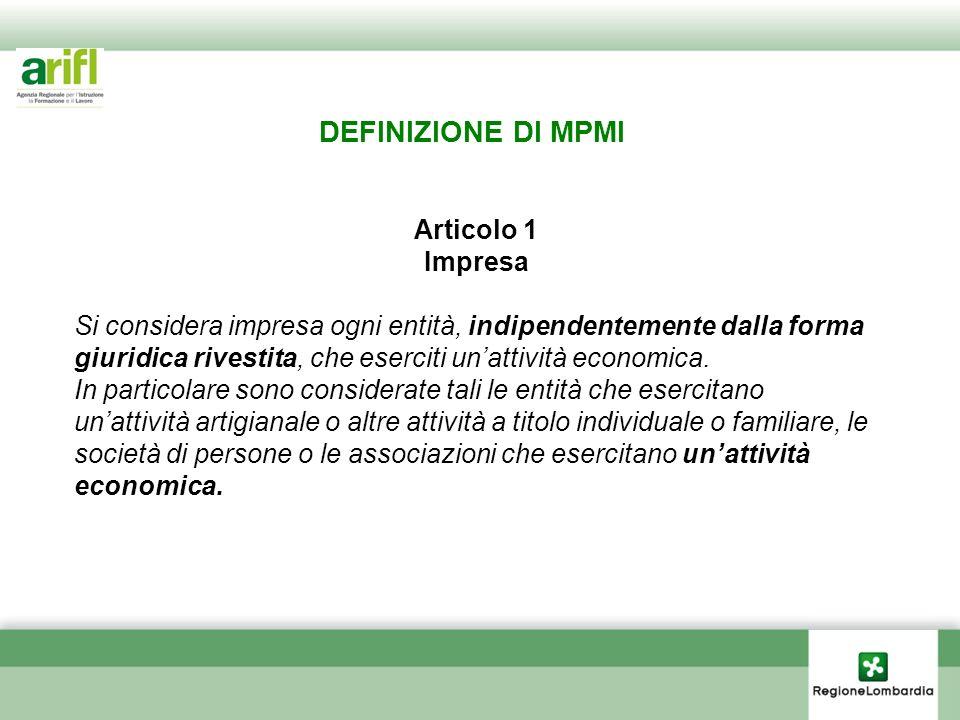 DEFINIZIONE DI MPMI Articolo 1 Impresa Si considera impresa ogni entità, indipendentemente dalla forma giuridica rivestita, che eserciti unattività ec