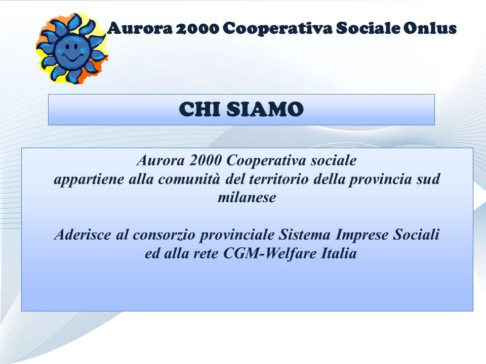 Aurora 2000 Cooperativa Sociale Onlus Aurora 2000 Cooperativa sociale appartiene alla comunità del territorio della provincia sud milanese Aderisce al consorzio provinciale Sistema Imprese Sociali ed alla rete CGM-Welfare Italia CHI SIAMO
