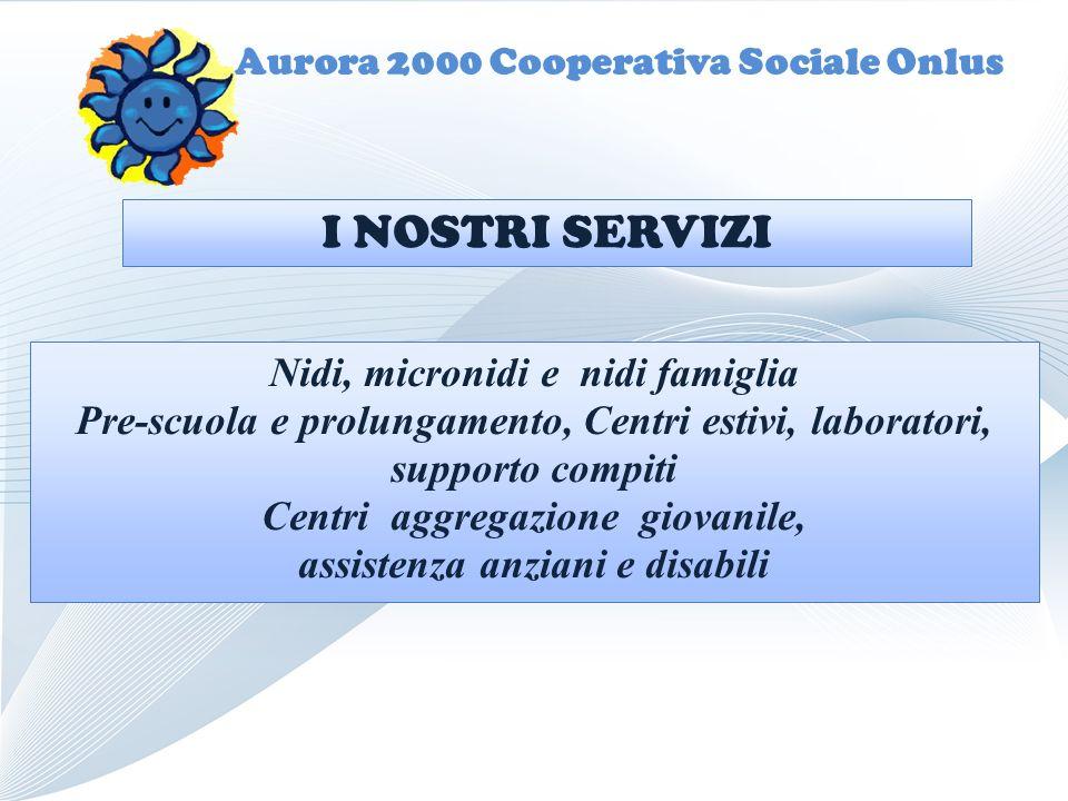 Aurora 2000 Cooperativa Sociale Onlus Nidi, micronidi e nidi famiglia Pre-scuola e prolungamento, Centri estivi, laboratori, supporto compiti Centri a