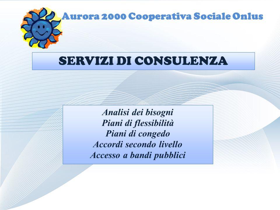 Aurora 2000 Cooperativa Sociale Onlus Analisi dei bisogni Piani di flessibilità Piani di congedo Accordi secondo livello Accesso a bandi pubblici SERVIZI DI CONSULENZA