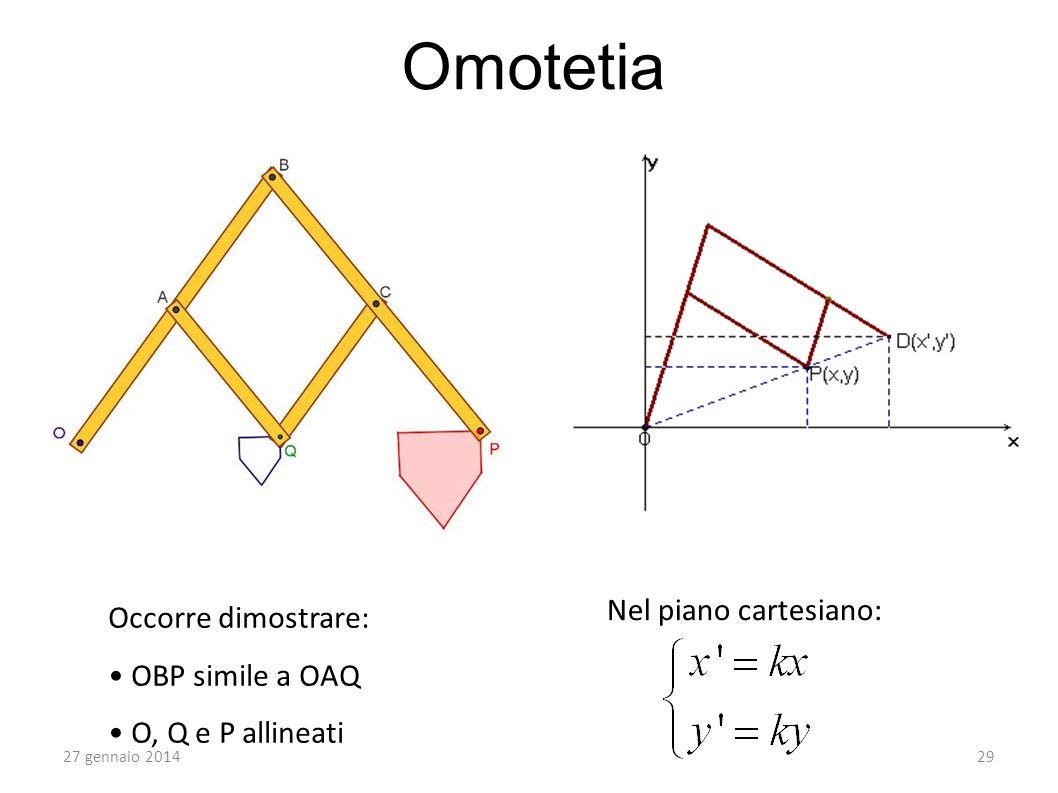 Omotetia 27 gennaio 201429 Occorre dimostrare: OBP simile a OAQ O, Q e P allineati Nel piano cartesiano: