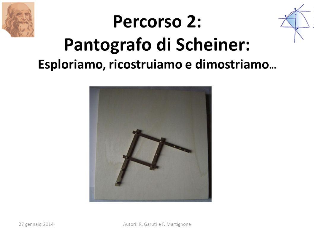 Percorso 2: Pantografo di Scheiner: Esploriamo, ricostruiamo e dimostriamo … 27 gennaio 2014Autori: R. Garuti e F. Martignone