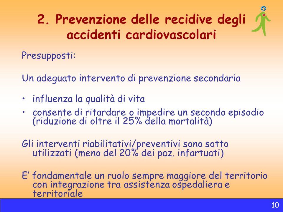 2. Prevenzione delle recidive degli accidenti cardiovascolari Presupposti: Un adeguato intervento di prevenzione secondaria influenza la qualità di vi