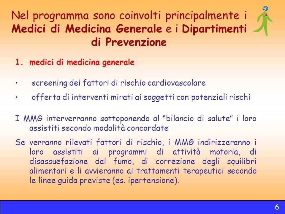 Nel programma sono coinvolti principalmente i Medici di Medicina Generale e i Dipartimenti di Prevenzione 1.medici di medicina generale screening dei