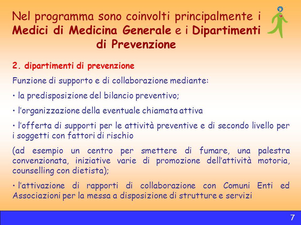 2. dipartimenti di prevenzione Funzione di supporto e di collaborazione mediante: la predisposizione del bilancio preventivo; lorganizzazione della ev