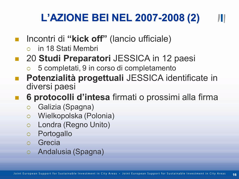 16 LAZIONE BEI NEL 2007-2008 (2) Incontri di kick off (lancio ufficiale) in 18 Stati Membri 20 Studi Preparatori JESSICA in 12 paesi 5 completati, 9 i