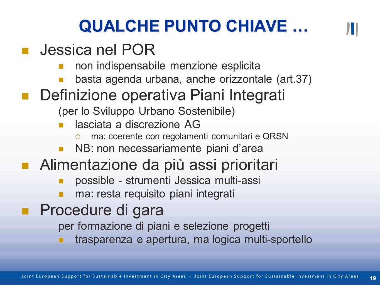 19 QUALCHE PUNTO CHIAVE … Jessica nel POR non indispensabile menzione esplicita basta agenda urbana, anche orizzontale (art.37) Definizione operativa