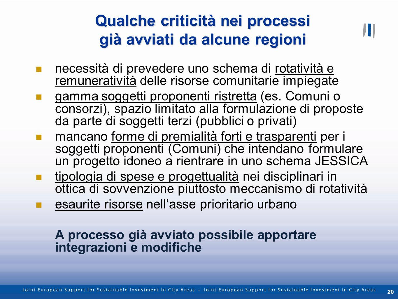 20 Qualche criticità nei processi già avviati da alcune regioni necessità di prevedere uno schema di rotatività e remuneratività delle risorse comunit