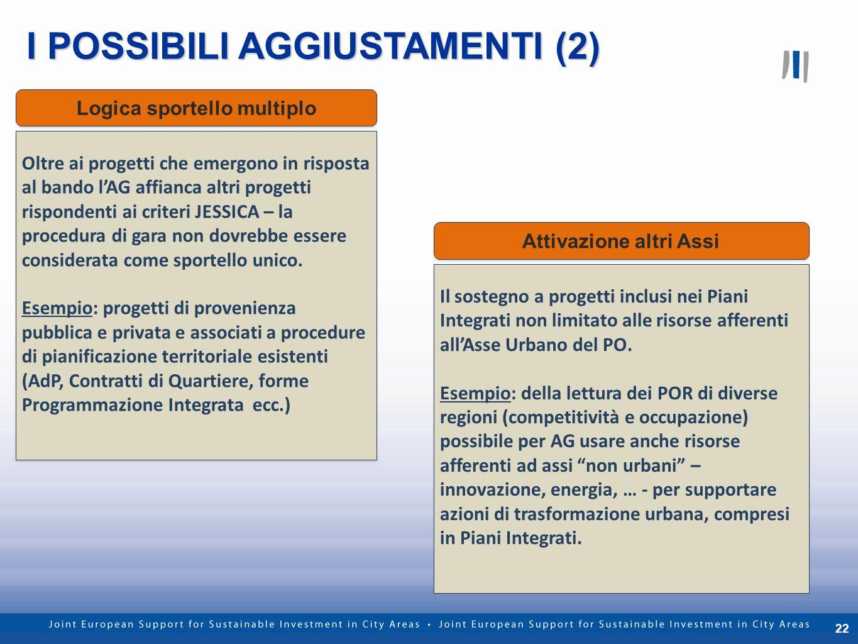 22 I POSSIBILI AGGIUSTAMENTI (2) Jessica nella Regione Liguria 22 Riservato e confidenziale Oltre ai progetti che emergono in risposta al bando lAG af