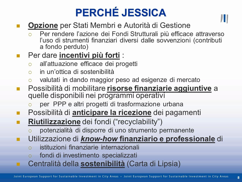 8 PERCHÉ JESSICA Opzione per Stati Membri e Autorità di Gestione Per rendere lazione dei Fondi Strutturali più efficace attraverso luso di strumenti f
