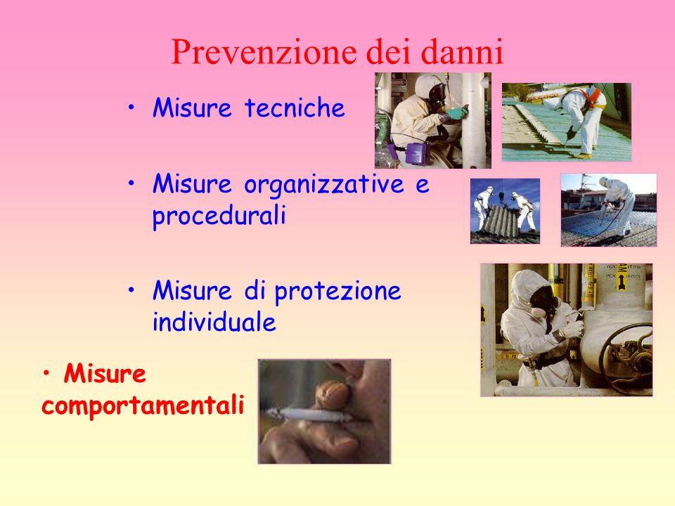 Prevenzione dei danni Misure tecniche Misure organizzative e procedurali Misure di protezione individuale Misure comportamentali