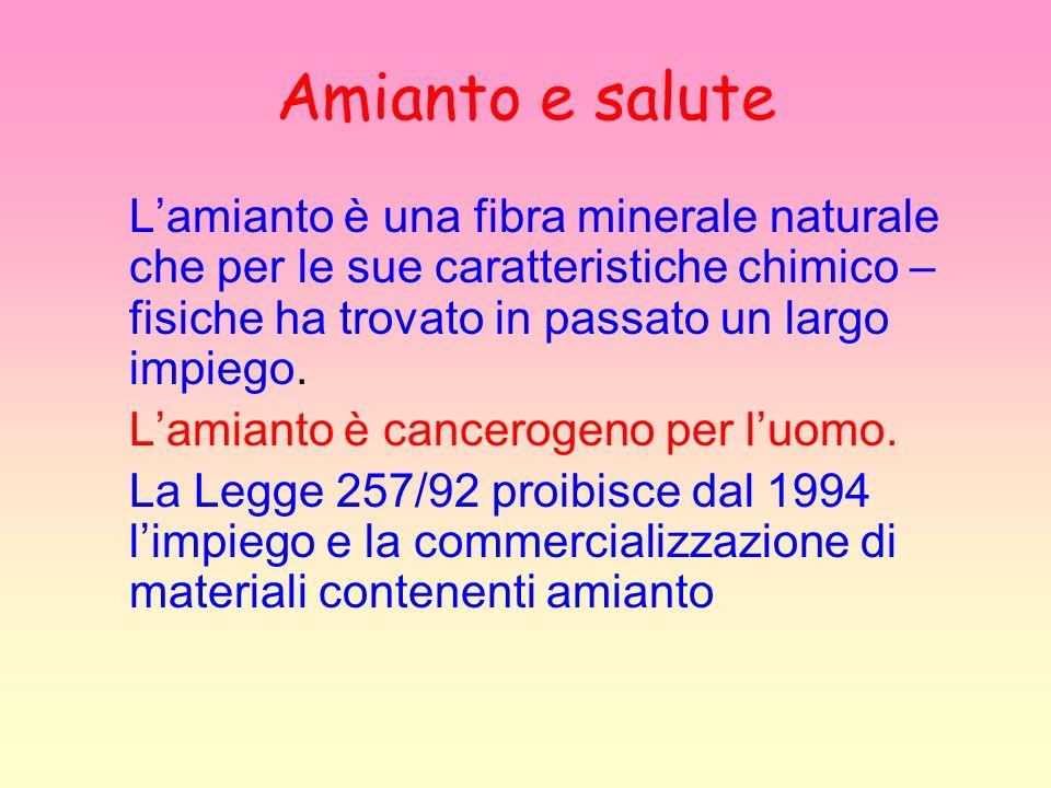 Amianto e salute Lamianto è una fibra minerale naturale che per le sue caratteristiche chimico – fisiche ha trovato in passato un largo impiego. Lamia