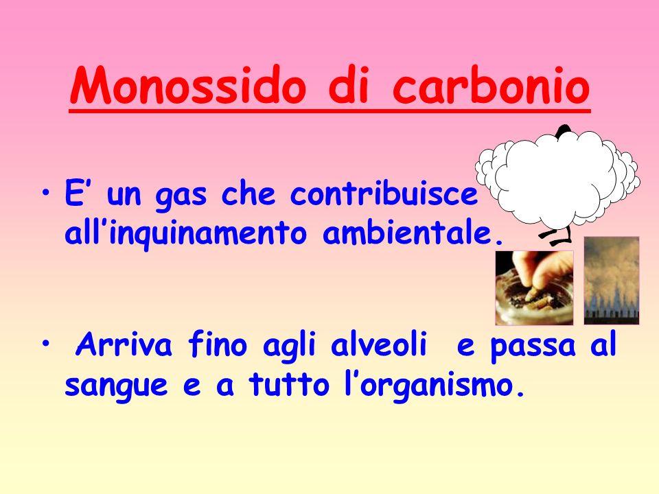 Monossido di carbonio E un gas che contribuisce allinquinamento ambientale. Arriva fino agli alveoli e passa al sangue e a tutto lorganismo.