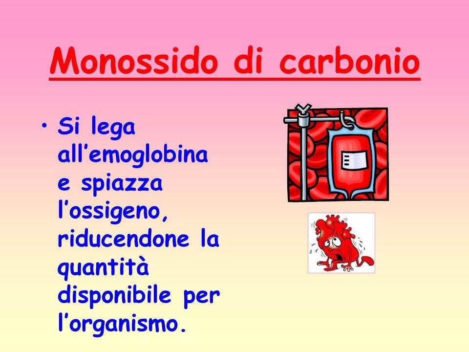 Monossido di carbonio Si lega allemoglobina e spiazza lossigeno, riducendone la quantità disponibile per lorganismo.