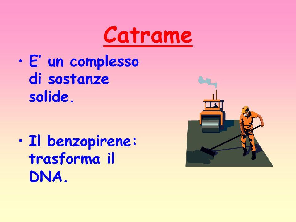 Catrame E un complesso di sostanze solide. Il benzopirene: trasforma il DNA.
