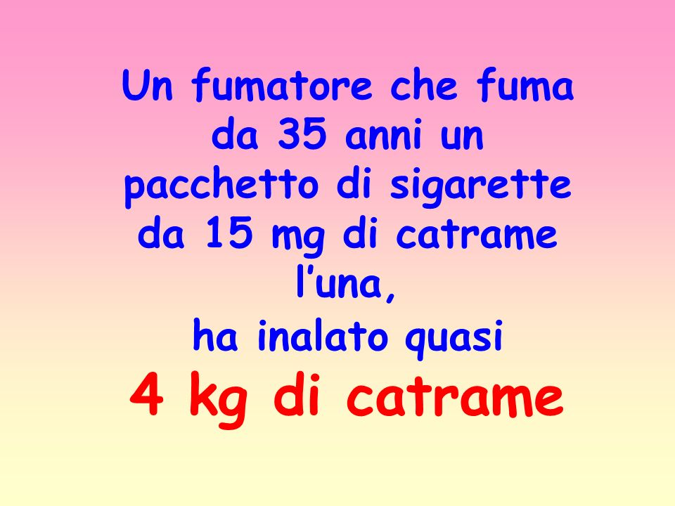 Un fumatore che fuma da 35 anni un pacchetto di sigarette da 15 mg di catrame luna, ha inalato quasi 4 kg di catrame