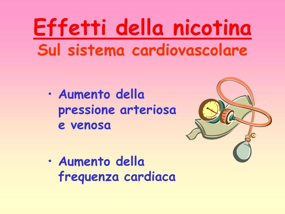 Effetti della nicotina Sul sistema cardiovascolare Aumento della pressione arteriosa e venosa Aumento della frequenza cardiaca