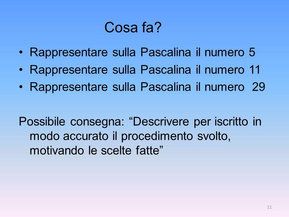 Cosa fa? Rappresentare sulla Pascalina il numero 5 Rappresentare sulla Pascalina il numero 11 Rappresentare sulla Pascalina il numero 29 Possibile con