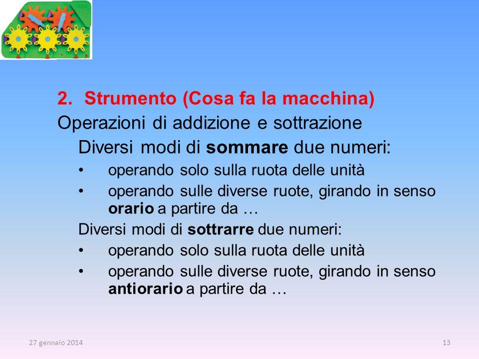 2.Strumento (Cosa fa la macchina) Operazioni di addizione e sottrazione Diversi modi di sommare due numeri: operando solo sulla ruota delle unità oper