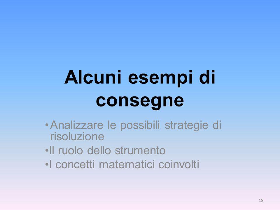 Alcuni esempi di consegne Analizzare le possibili strategie di risoluzione Il ruolo dello strumento I concetti matematici coinvolti 18