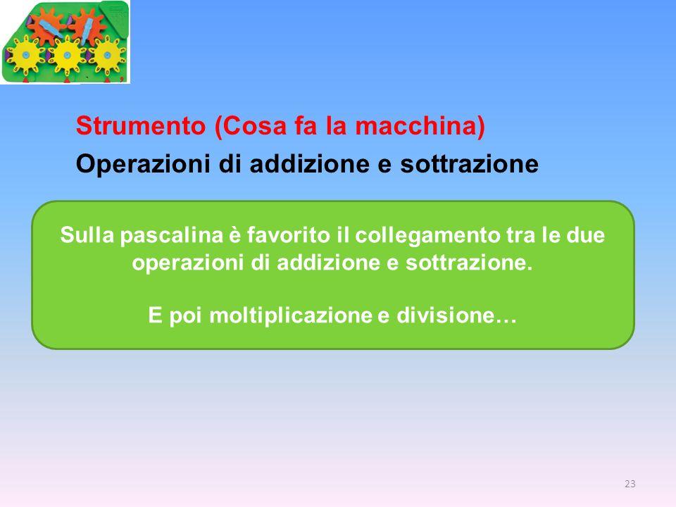 Strumento (Cosa fa la macchina) Operazioni di addizione e sottrazione Sulla pascalina è favorito il collegamento tra le due operazioni di addizione e