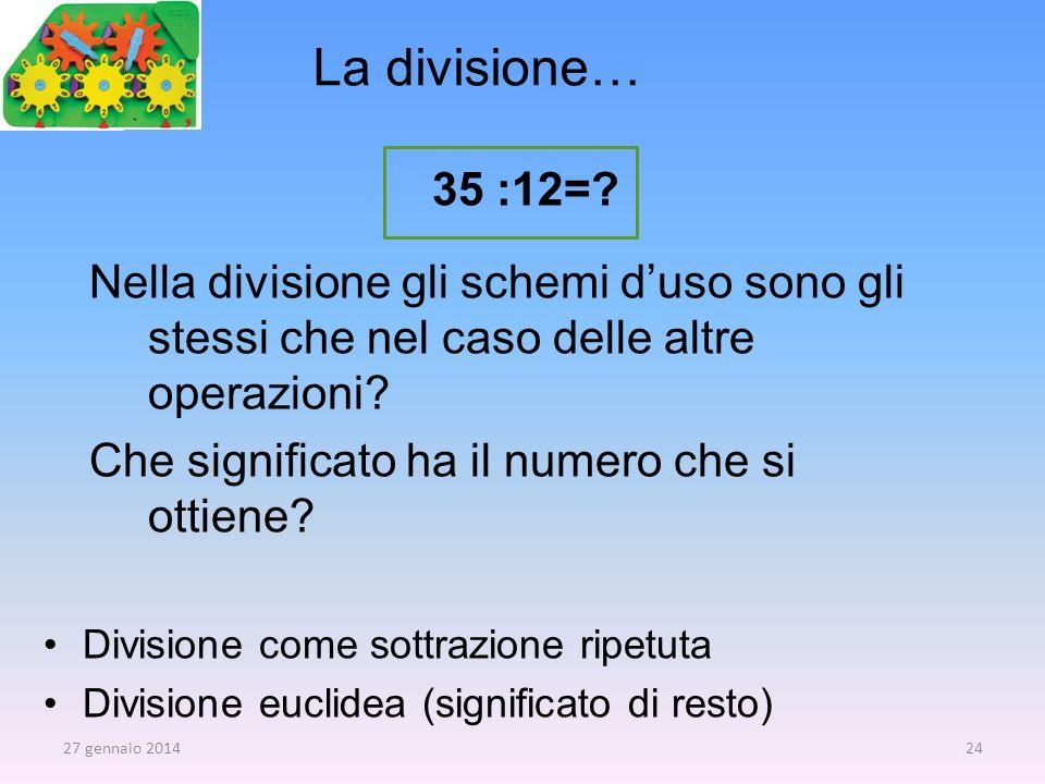 La divisione… 35 :12=? Nella divisione gli schemi duso sono gli stessi che nel caso delle altre operazioni? Che significato ha il numero che si ottien