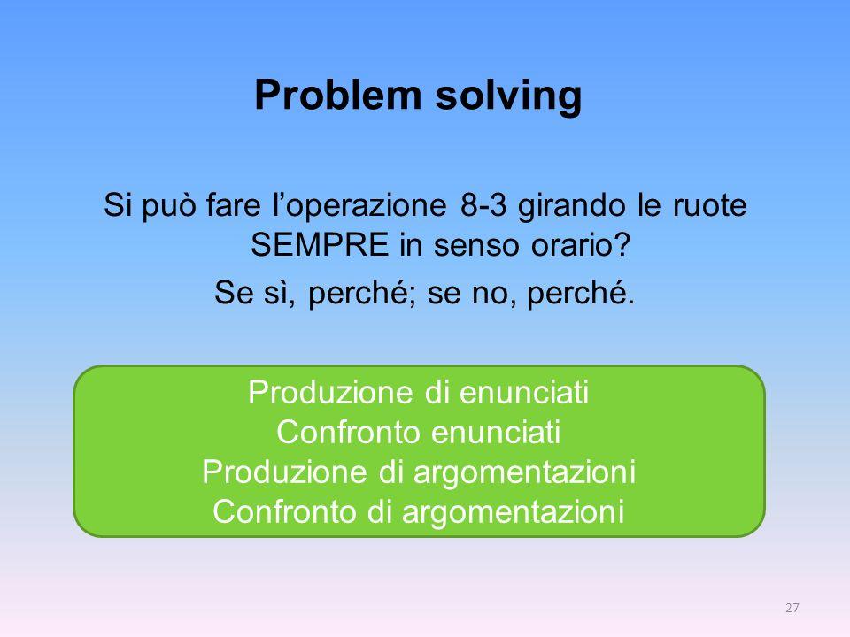 Problem solving Si può fare loperazione 8-3 girando le ruote SEMPRE in senso orario? Se sì, perché; se no, perché. Produzione di enunciati Confronto e