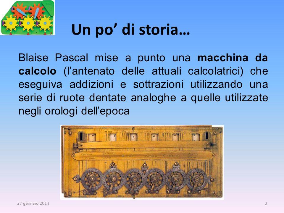 Blaise Pascal mise a punto una macchina da calcolo (lantenato delle attuali calcolatrici) che eseguiva addizioni e sottrazioni utilizzando una serie d