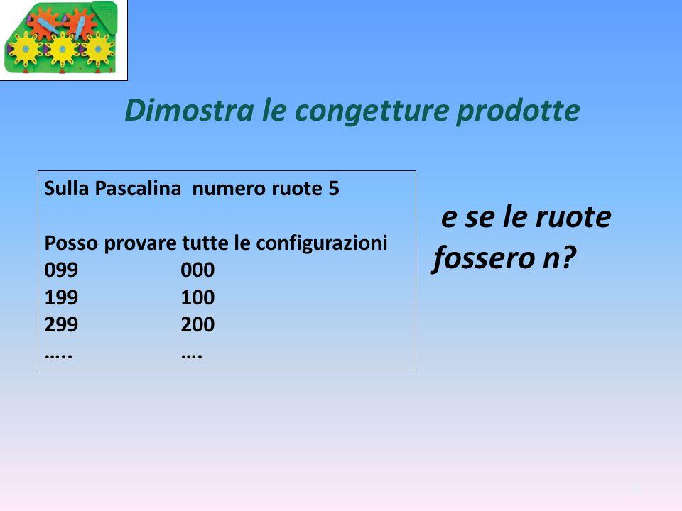 35 Dimostra le congetture prodotte Sulla Pascalina numero ruote 5 Posso provare tutte le configurazioni 099000 199100 299200 …..…. e se le ruote fosse