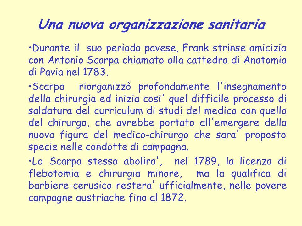 Una nuova organizzazione sanitaria Durante il suo periodo pavese, Frank strinse amicizia con Antonio Scarpa chiamato alla cattedra di Anatomia di Pavi