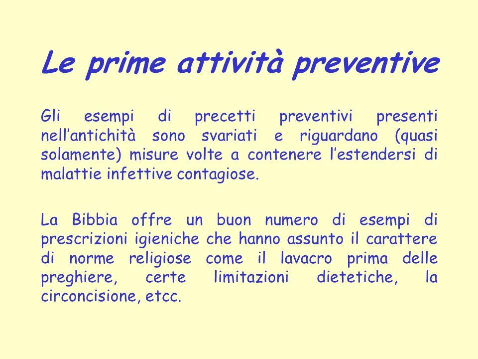 Le prime attività preventive Gli esempi di precetti preventivi presenti nellantichità sono svariati e riguardano (quasi solamente) misure volte a cont