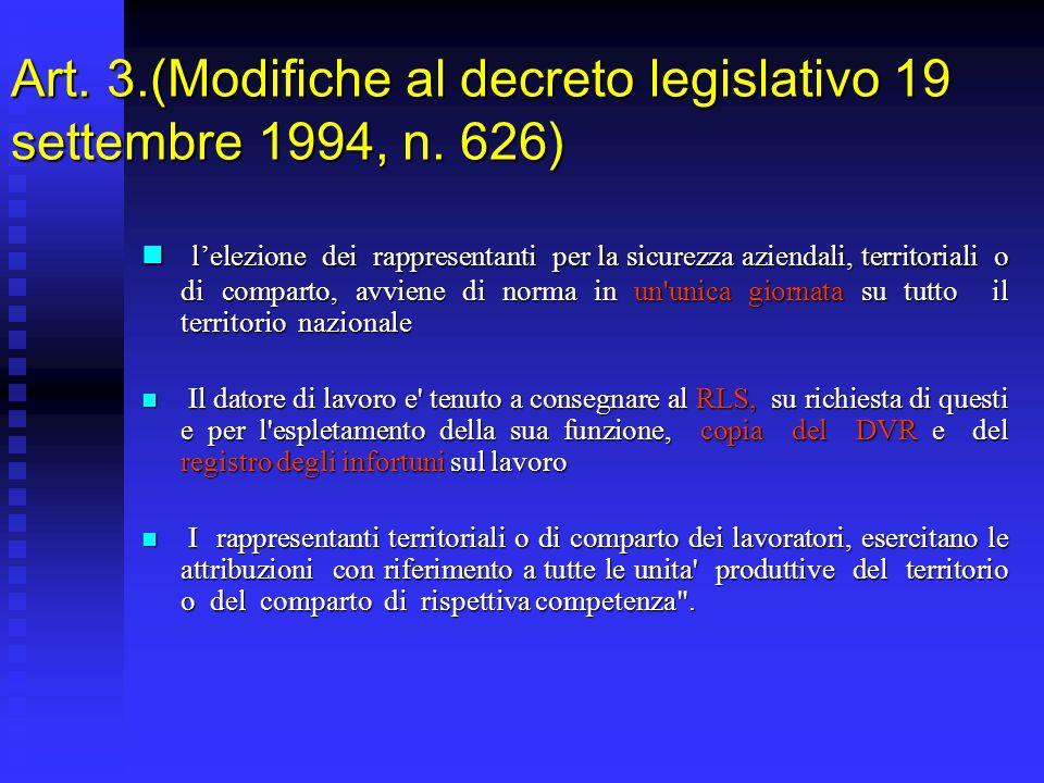 Art. 3.(Modifiche al decreto legislativo 19 settembre 1994, n.