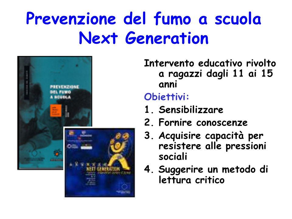 Prevenzione del fumo a scuola Next Generation Intervento educativo rivolto a ragazzi dagli 11 ai 15 anni Obiettivi: 1.Sensibilizzare 2.Fornire conoscenze 3.