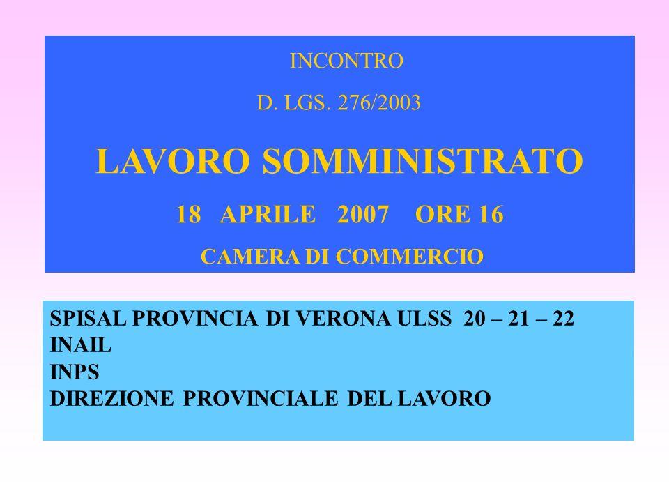 SPISAL PROVINCIA DI VERONA ULSS 20 – 21 – 22 INAIL INPS DIREZIONE PROVINCIALE DEL LAVORO INCONTRO D. LGS. 276/2003 LAVORO SOMMINISTRATO 18 APRILE 2007