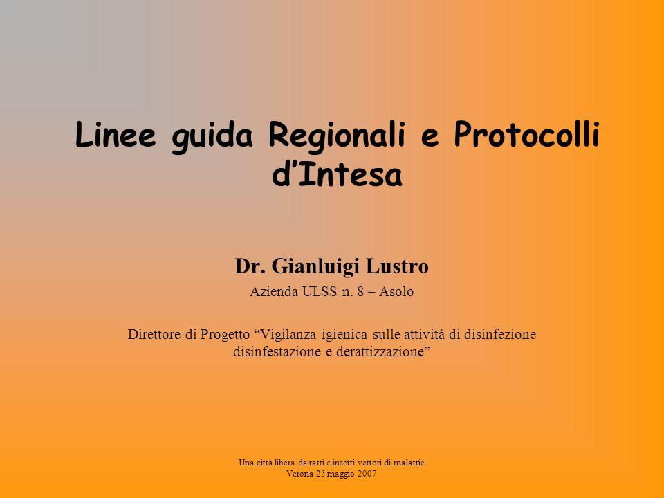 Una città libera da ratti e insetti vettori di malattie Verona 25 maggio 2007 Linee Guida Regionali e Protocolli dIntesa D.G.R.V.