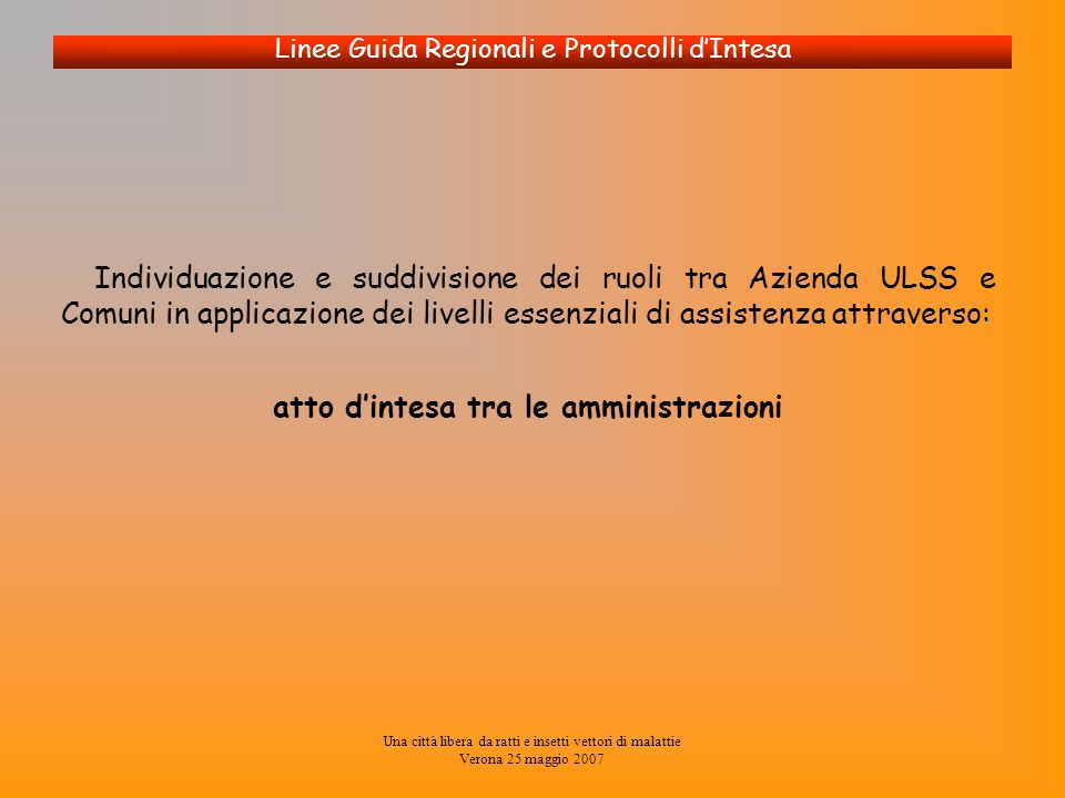 Una città libera da ratti e insetti vettori di malattie Verona 25 maggio 2007 Linee Guida Regionali e Protocolli dIntesa Individuazione e suddivisione