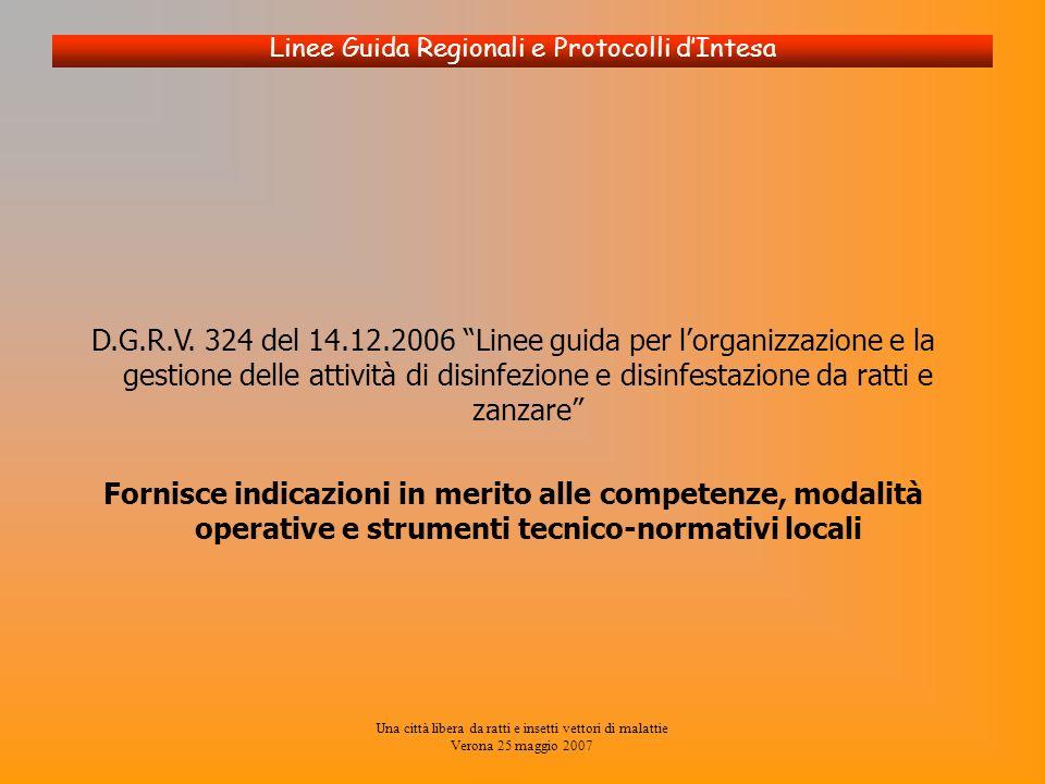 Una città libera da ratti e insetti vettori di malattie Verona 25 maggio 2007 Linee Guida Regionali e Protocolli dIntesa D.G.R.V. 324 del 14.12.2006 L