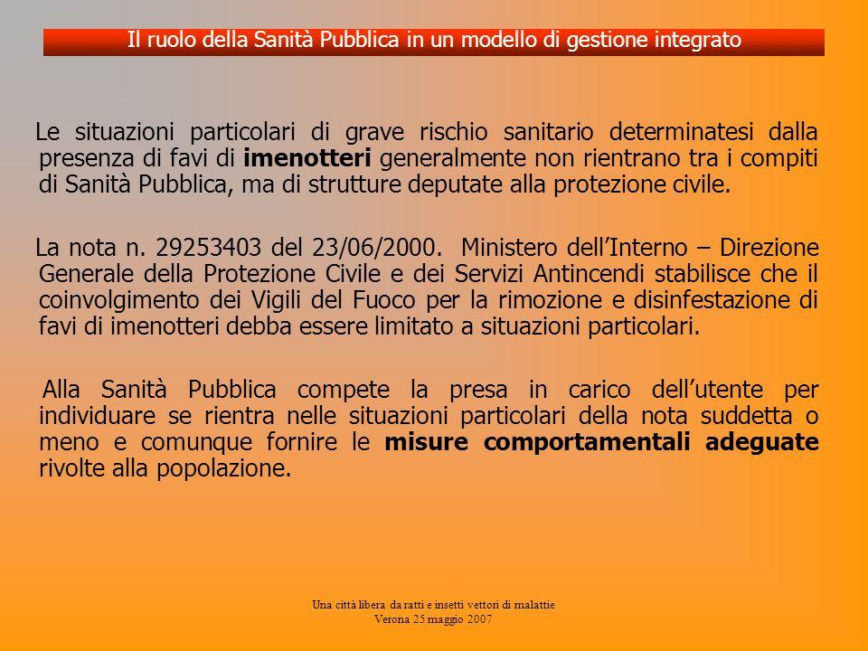 Una città libera da ratti e insetti vettori di malattie Verona 25 maggio 2007 Le situazioni particolari di grave rischio sanitario determinatesi dalla