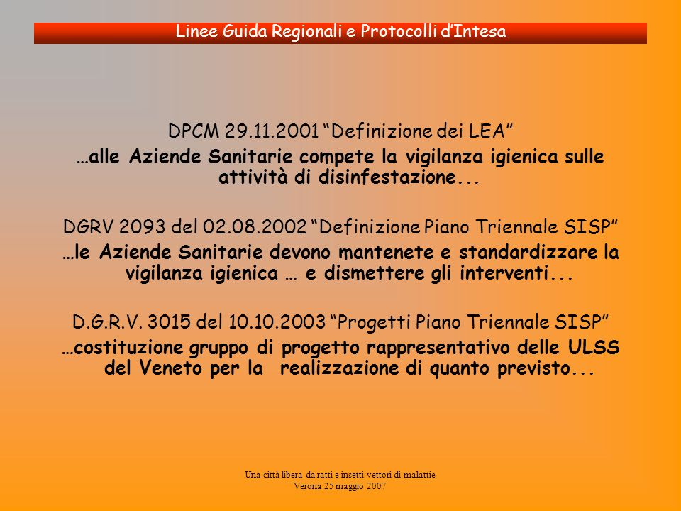 Una città libera da ratti e insetti vettori di malattie Verona 25 maggio 2007 Linee Guida Regionali e Protocolli dIntesa DPCM 29.11.2001 Definizione d
