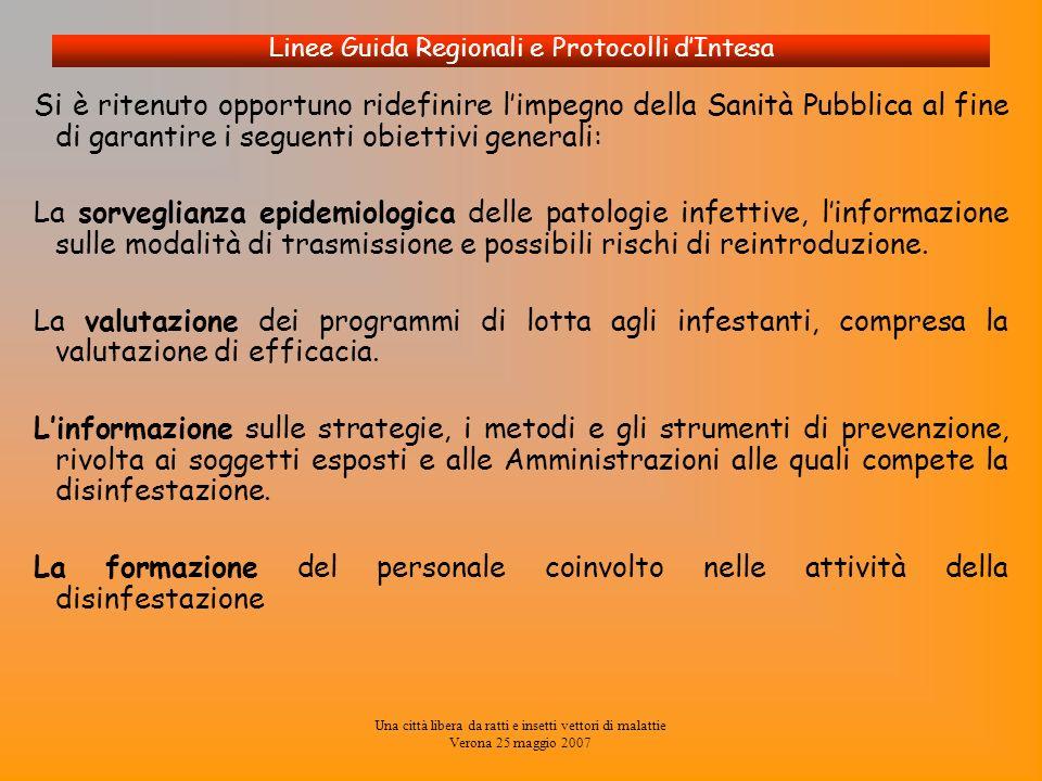 Una città libera da ratti e insetti vettori di malattie Verona 25 maggio 2007 Linee Guida Regionali e Protocolli dIntesa Si è ritenuto opportuno ridef