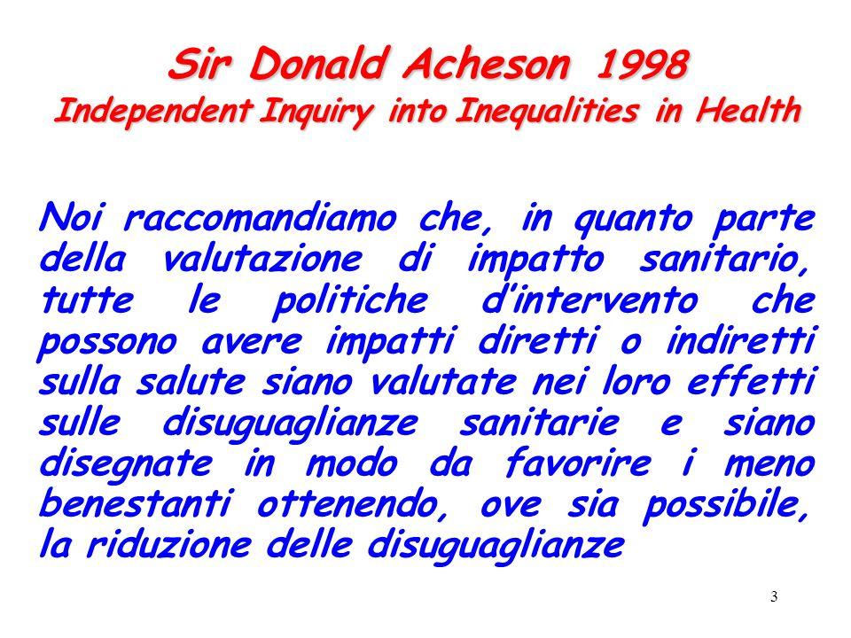 3 Sir Donald Acheson 1998 Independent Inquiry into Inequalities in Health Noi raccomandiamo che, in quanto parte della valutazione di impatto sanitari
