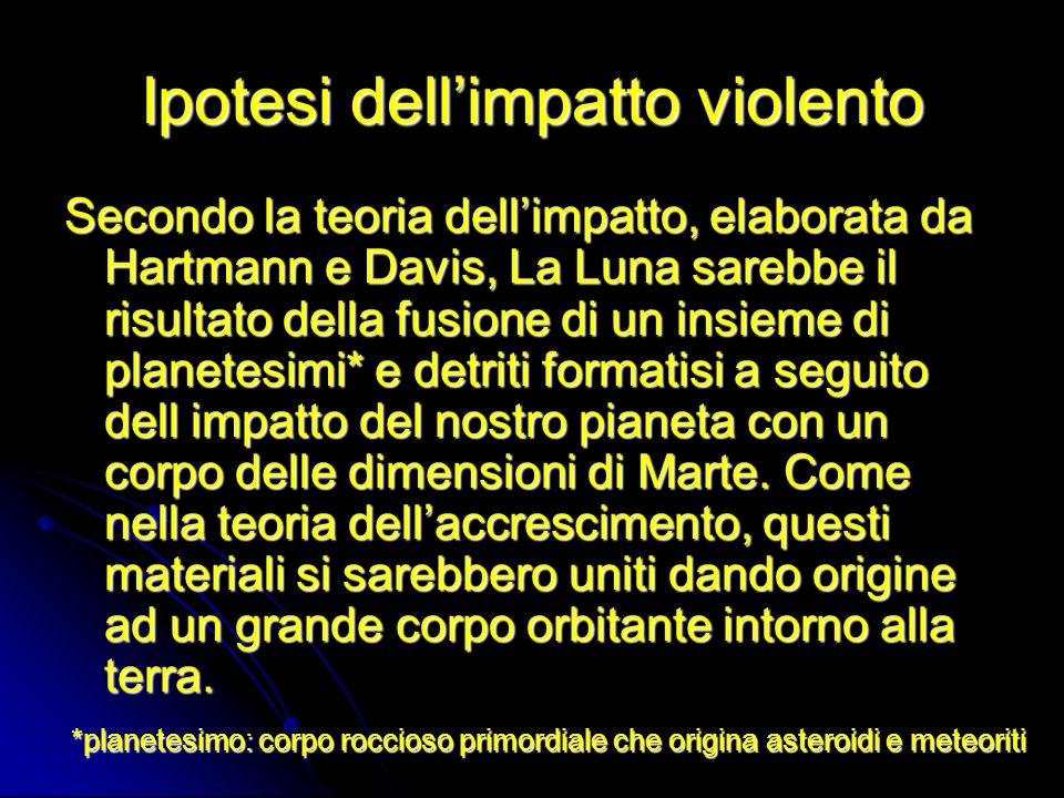 Ipotesi dellimpatto violento Secondo la teoria dellimpatto, elaborata da Hartmann e Davis, La Luna sarebbe il risultato della fusione di un insieme di