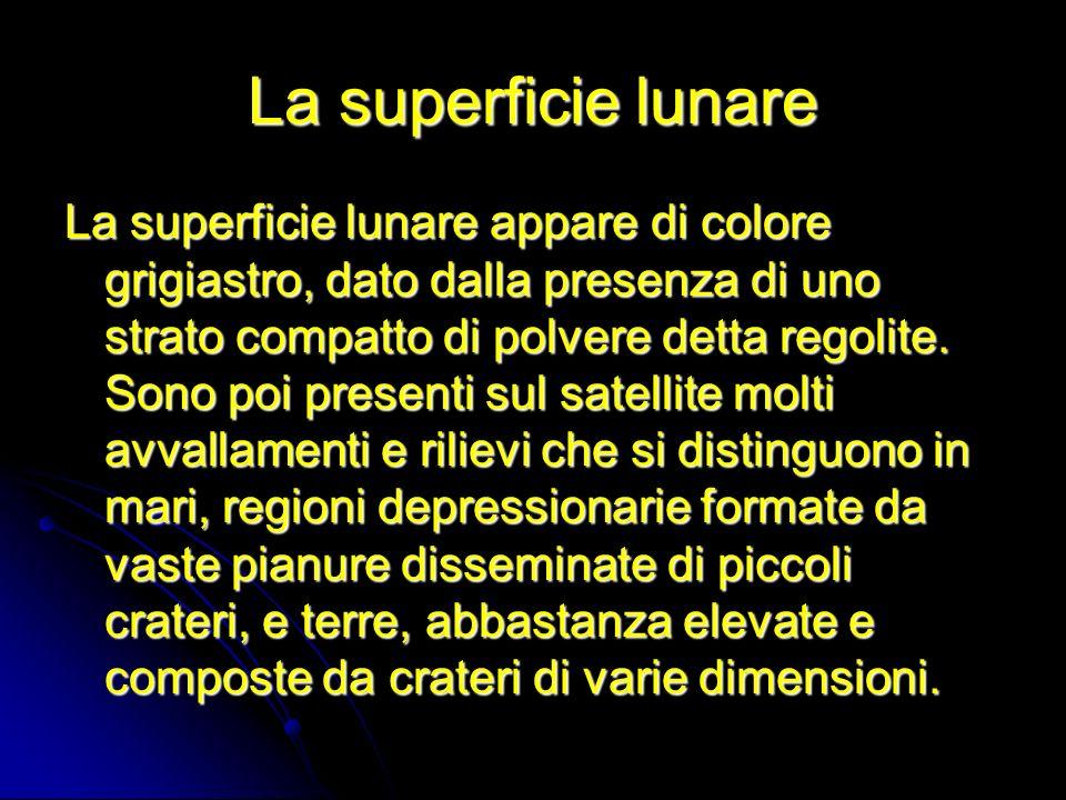 La superficie lunare La superficie lunare appare di colore grigiastro, dato dalla presenza di uno strato compatto di polvere detta regolite. Sono poi