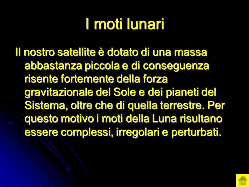 I moti lunari Il nostro satellite è dotato di una massa abbastanza piccola e di conseguenza risente fortemente della forza gravitazionale del Sole e d