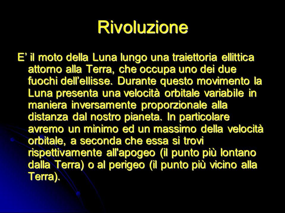 Rivoluzione E il moto della Luna lungo una traiettoria ellittica attorno alla Terra, che occupa uno dei due fuochi dellellisse. Durante questo movimen