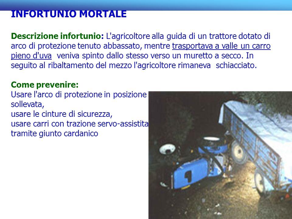 INFORTUNIO MORTALE Descrizione infortunio: L'agricoltore alla guida di un trattore dotato di arco di protezione tenuto abbassato, mentre trasportava a